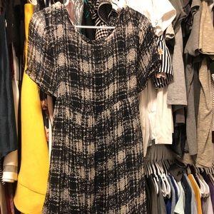 ASOS black & white plaid maternity dress
